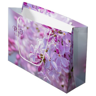 Pink lilac flowers large gift bag