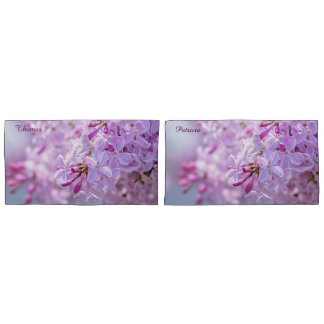 Pink lilac flowers pillowcase