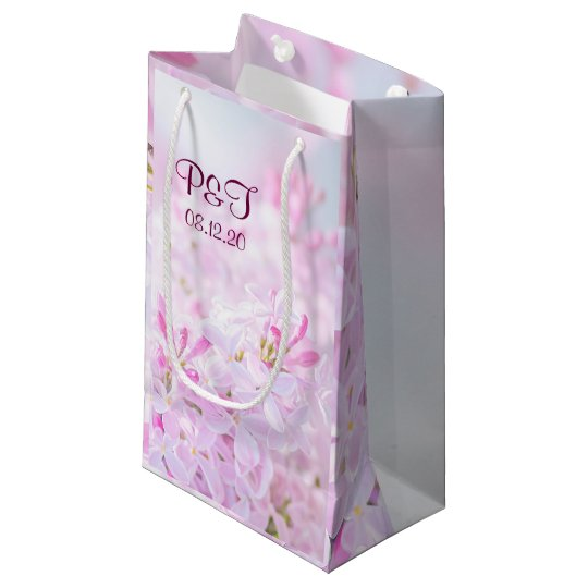 Pink lilac flowers small gift bag