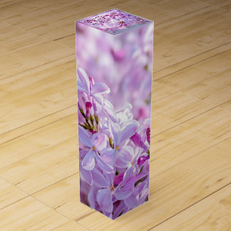 Pink lilac flowers wine bottle boxes
