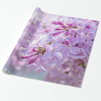 Pink lilac flowers wrapping paper