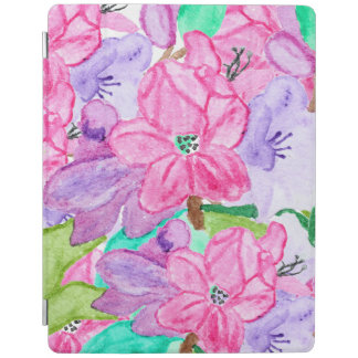 Pink lilac original watercolor hand drawn flowers iPad cover