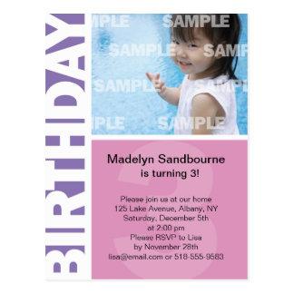 Pink Lilac Panel 3rd Birthday Postcard