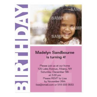 Pink Lilac Side Panel 4th Birthday Postcard