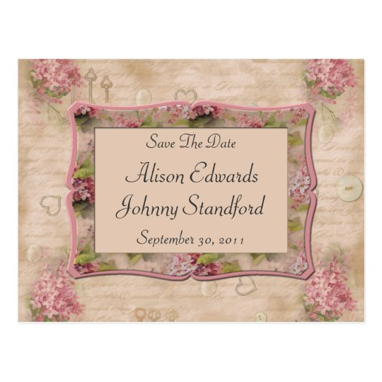 Pink Lilacs Save The Date Postcard