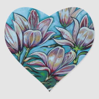 Pink Lilies in Sunny Sky Heart Sticker