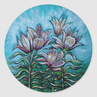 Pink Lilies in Sunny Sky Round Sticker
