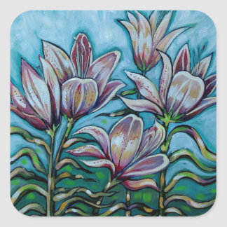 Pink Lilies in Sunny Sky Square Sticker