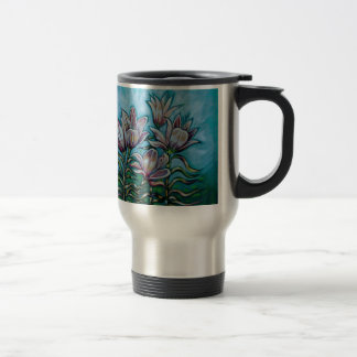 Pink Lilies in Sunny Sky Stainless Steel Travel Mug