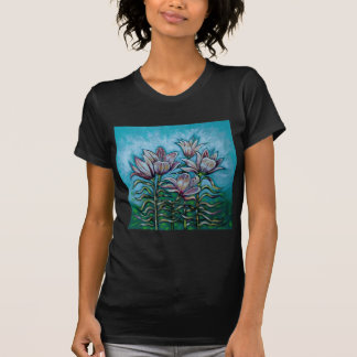 Pink Lilies in Sunny Sky Tee Shirt