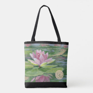 Pink Lilies, Lily Pads, Reflections Tote Bag