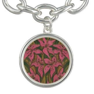 Pink Lilies, pastel painting, flowers, floral art Charm Bracelet