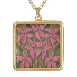 Pink Lilies, pastel painting, flowers, floral art Gold Plated Necklace