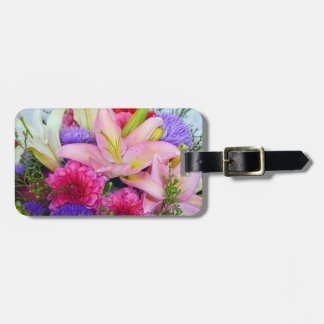 Pink lily and dahlia floral print luggage tag