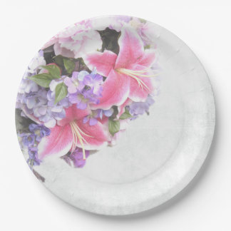 Pink Lily Bouquet Paper Plate