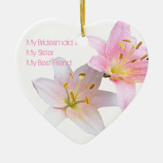 Pink Lily Bridesmaid Ceramic Ornament
