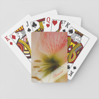 Pink lily center photograph playing cards