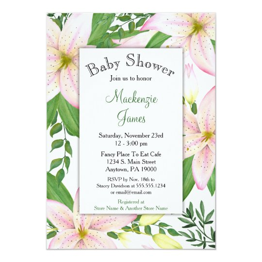 Pink Lily Floral Baby Shower Invitation Girls