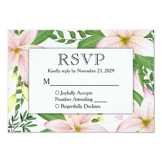 Pink Lily Floral RSVP Lilies Wedding Response Card