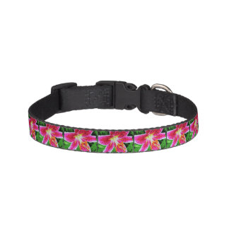 Pink Lily Flower Pet Collar