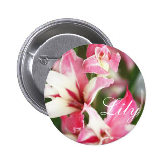 Pink lily flowers button