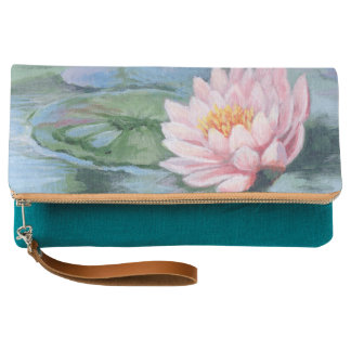 Pink Lily on Water Clutch Bag