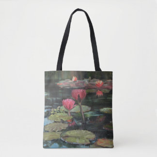 Pink Lily Pond Tote Bag