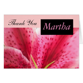 Pink Lily Thank You Card with Name