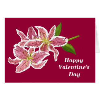 Pink Lily Valentine Card