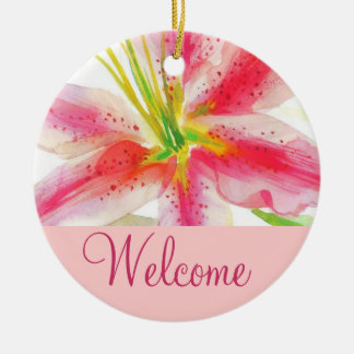 Pink Lily Welcome Door Sign Round Ceramic Ornament