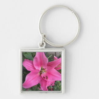 Pink Lily with Raindrops Keychain