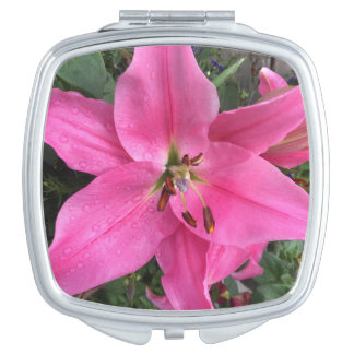 Pink Lily with Raindrops Travel Mirror