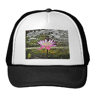 Pink Lilypad Flower Painting Trucker Hat
