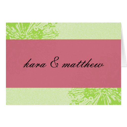 Pink & Lime Blossom Save the Date Greeting Card