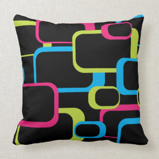 Pink Lime Green and Turquoise Retro Squares Black Throw Pillow