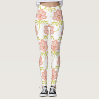 Pink, Lime Green and White Floral Print Leggings