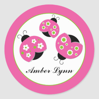 Pink & Lime Green Ladybugs Round Sticker
