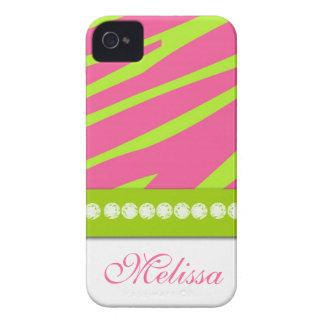 Pink Lime Green Zebra Print iPhone 4 Case-Mate