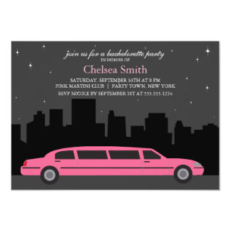 Pink Limousine Bachelorette Party Card
