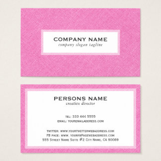 Pink Linen Texture White Background Business Card