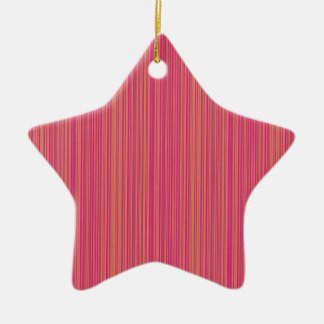 Pink lines ceramic star ornament