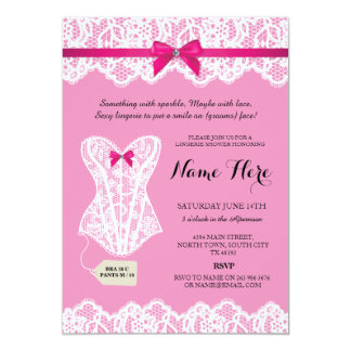 Pink Lingerie Shower Bridal Party Corset Invites