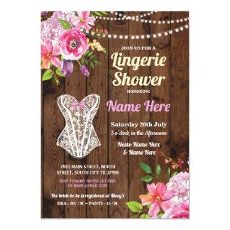 Pink Lingerie Shower Wood Flowers Invitation