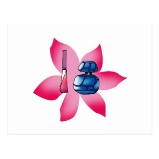 Pink lip gloss and a blue perfume postcard