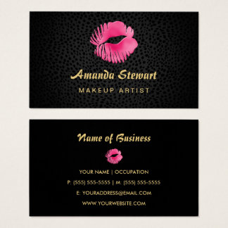 Pink Lip Gloss Kiss Black Cheetah Makeup Artist Business Card