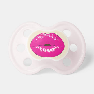 Pink Lips Baby Girl Pacifier Funny Cute