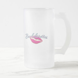 pink lips bachelorettes party bridal bridesmaids 16 oz frosted glass beer mug