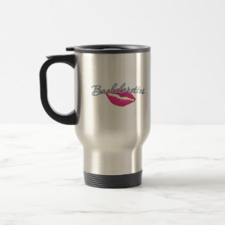 pink lips bachelorettes party bridal bridesmaids stainless steel travel mug