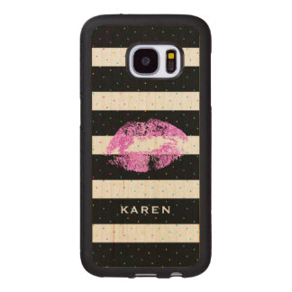 Pink Lips Colorful Dots With Black & White Stripes Wood Samsung Galaxy S7 Case
