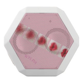 Pink lips in ink and lipstick white bluetooth speaker